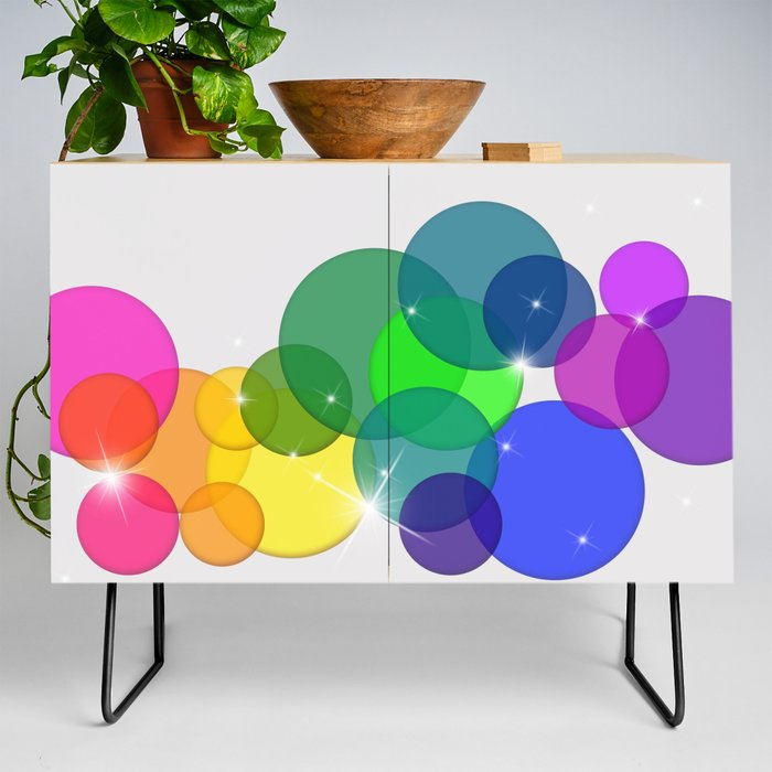 Translucent Rainbow Colored Circles with Sparkles - Multi Colored Credenza