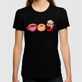 Coffee Donut Percolator Pattern T-shirt