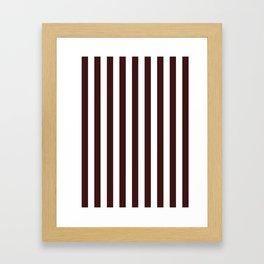Narrow Vertical Stripes - White and Dark Sienna Brown Framed Art Print
