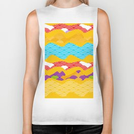 Summer bright pattern  scales simple Nature background with Chinese wave circle pattern Biker Tank