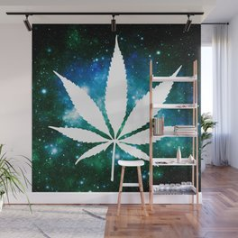 Weed : High Times Green Blue Galaxy Wall Mural