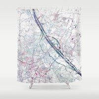 vienna Shower Curtains featuring Vienna map by MapMapMaps.Watercolors