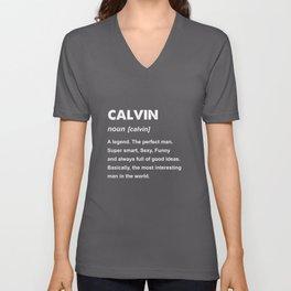 Mens Calvin Name Gift design Unisex V-Neck