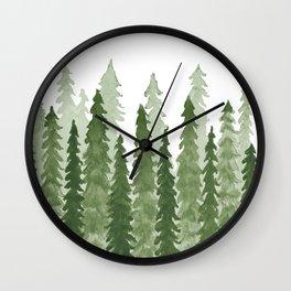 Watercolor Redwood Trees Wall Clock