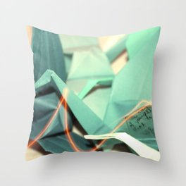 Senbazuru | shades of teal Throw Pillow