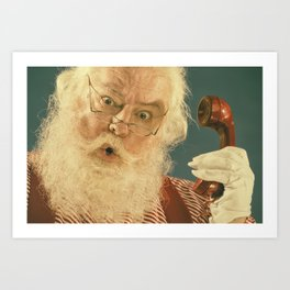 Retro Looking Real Santa Claus surprised on the phone Art Print