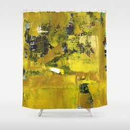 Waiter Yellow Abstract Modern Art Painting Shower Curtain