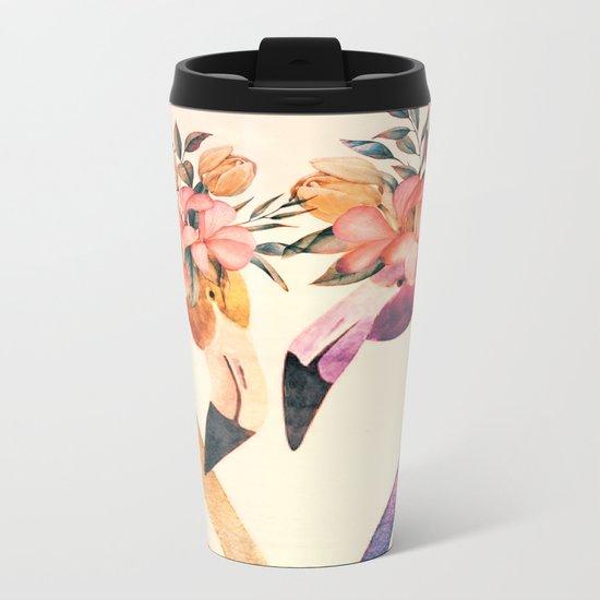 Flamingos II Metal Travel Mug