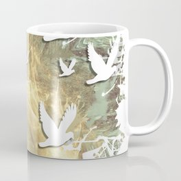 Birds on beige messy kaleidoscope Coffee Mug