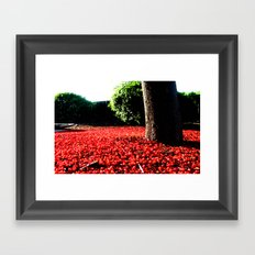 Cherry coloured Leaves Framed Art Print
