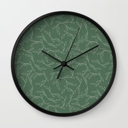Green Climbing Leaves Wall Clock