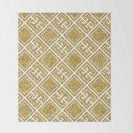 Gold Glitter Greek Pattern Throw Blanket