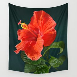 Red Darling Hibiscus Wall Tapestry
