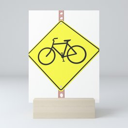 """Bicycles ahead"" - 3d illustration of yellow roadsign isolated on white background Mini Art Print"