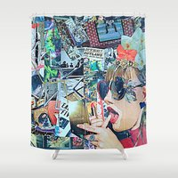 lipstick Shower Curtains featuring Lipstick Outlaw by Katy Hirschfeld
