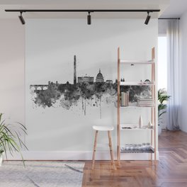 Washington DC Skyline Black and White Wall Mural