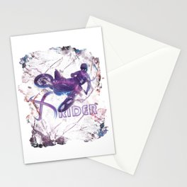 Ultraviolet Neon Motocross X-Rider Freestyle Action TShirt Stationery Cards