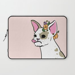 Pink Floral Frenchie Laptop Sleeve