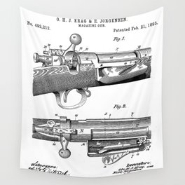 Bolt Action Rifle Patent - Repeating Receiver Art - Black And White Wall Tapestry