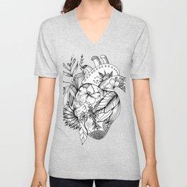 corazón con flores blanco y negro Unisex V-Neck