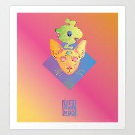 Psichedelic cat Art Print