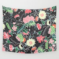 preppy Wall Tapestries featuring Pastel preppy hand drawn garden flowers chalkboard by Girly Trend