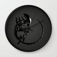 xenomorph Wall Clocks featuring Xenomorph by Philipe Kling