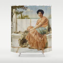 In the Days of Sappho by John William Godward (1904) Shower Curtain