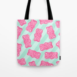Pink Gummi Bears on Mint Background Pattern Tote Bag