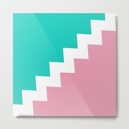 Mint & Pink dived by a white zigzag lines. Metal Print