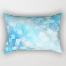 Turquoise Snowstorm - Abstract Watercolor Dots Rectangular Pillow