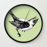 birdy Wall Clocks featuring Birdy by Aubree Eisenwinter