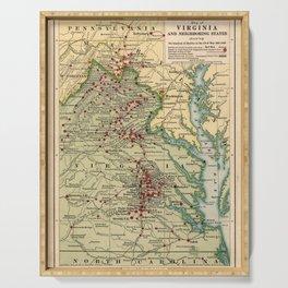 Vintage Virginia Civil War Battlefield Map (1912) Serving Tray