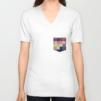 quilt V-neck T-shirts featuring quilt n2 by spinL