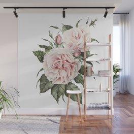 Pink Garden Roses Watercolor Wall Mural