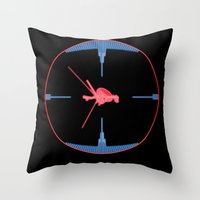 nasa Throw Pillows featuring Tie Fighter Meets NASA Voyager 1 by Ryan Huddle House of H