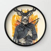 hunting Wall Clocks featuring Hunting Season by Niel Quisaba