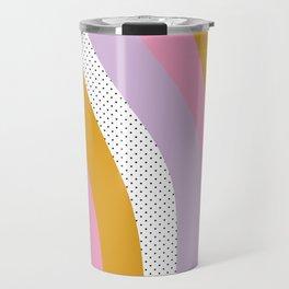 Abstract Print - Mixed Colors and Patterns Wavy Lines Travel Mug