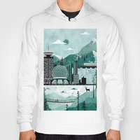 travel poster Hoodies featuring Vancouver Travel Poster Illustration by ClaireIllustrations