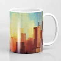 white Mugs featuring Urban sunset by SensualPatterns