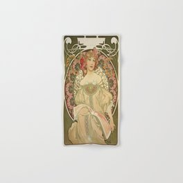 Vintage poster - Woman with flowers Hand & Bath Towel