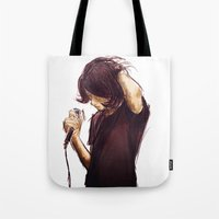 alex turner Tote Bags featuring alex turner [7] [humbug] by roanne Q