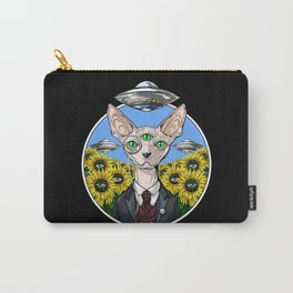 Psychedelic Sphynx Cat Alien Abduction Carry-All Pouch