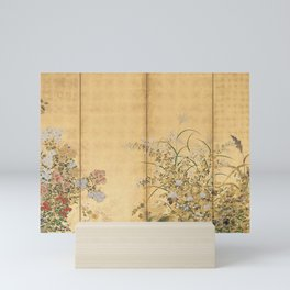 Japanese Edo Period Six-Panel Gold Leaf Screen - Spring and Autumn Flowers Mini Art Print