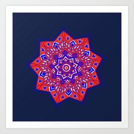 Red White and Blue Mandala star swirl Art Print