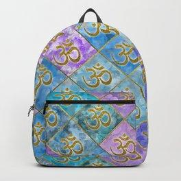 Golden OM symbol on Pastel Watercolor pattern Backpack