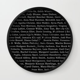 The Ladies of Literature Pattern on Black Wall Clock
