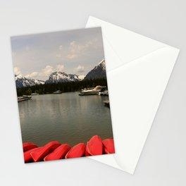 Canoe Meeting At Jackson Lake Stationery Cards