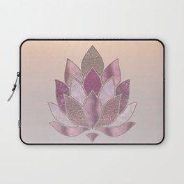 Elegant Glamorous Pink Rose Gold Lotus Flower Laptop Sleeve