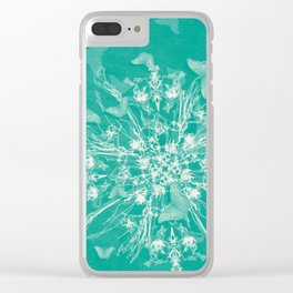 ghost bouquet and butterflies  on teal Clear iPhone Case